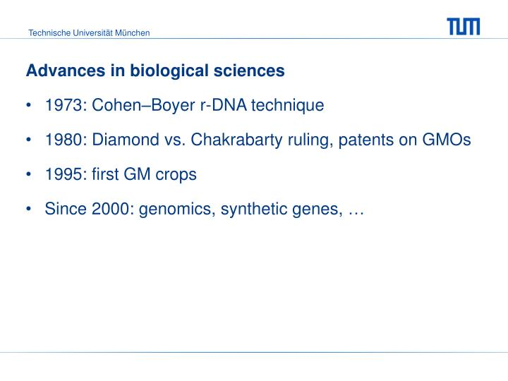 Advances in biological sciences