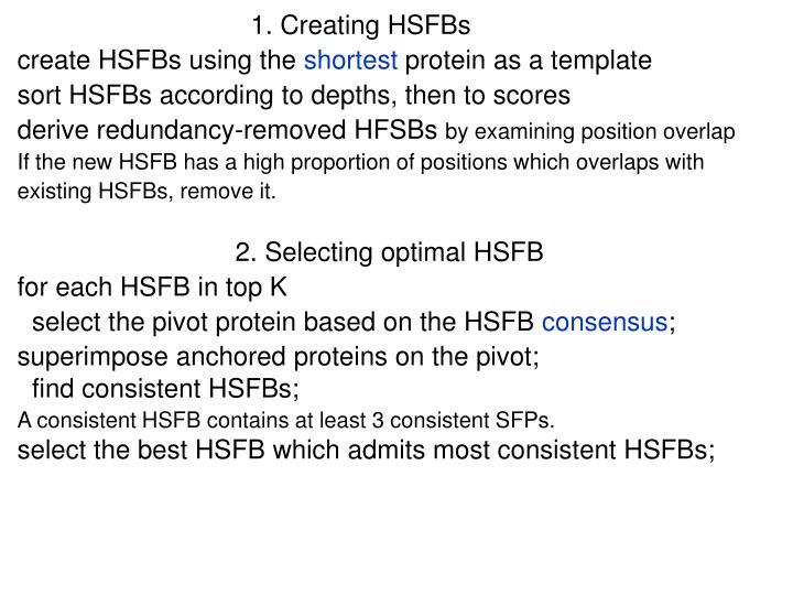 1. Creating HSFBs