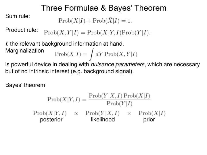 Three Formulae & Bayes' Theorem