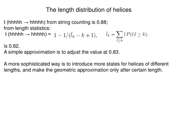 The length distribution of helices