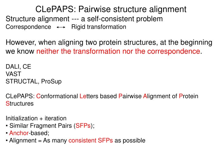CLePAPS: Pairwise structure alignment