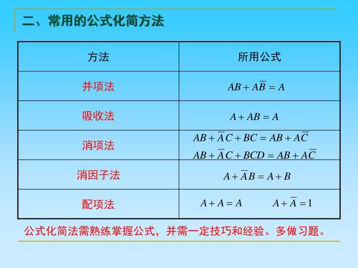 二、常用的公式化简方法