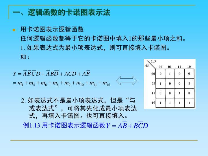 一、逻辑函数的卡诺图表示法