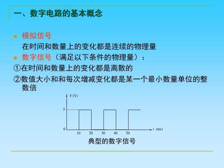 一、数字电路的基本概念