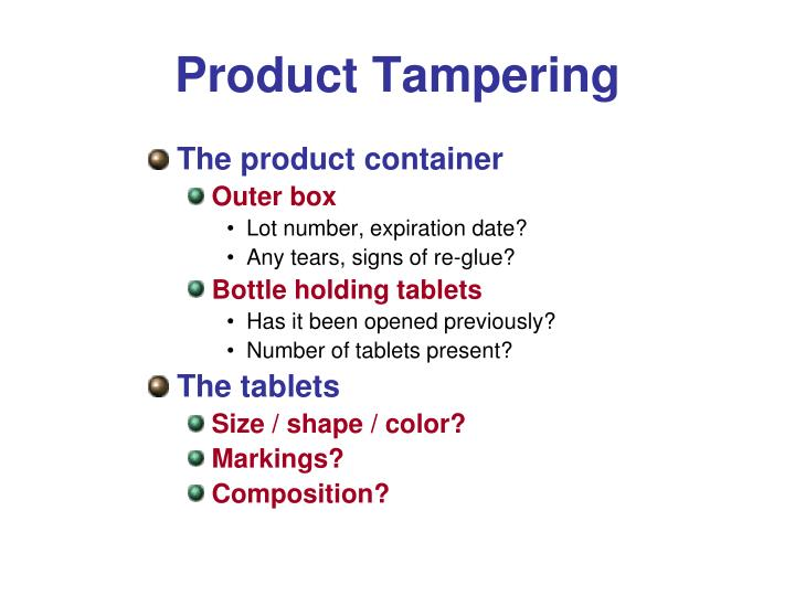 Product Tampering