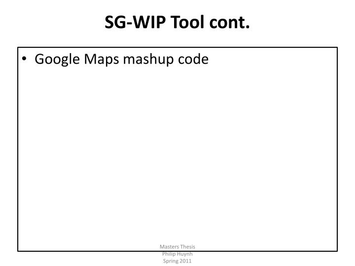 SG-WIP Tool cont.