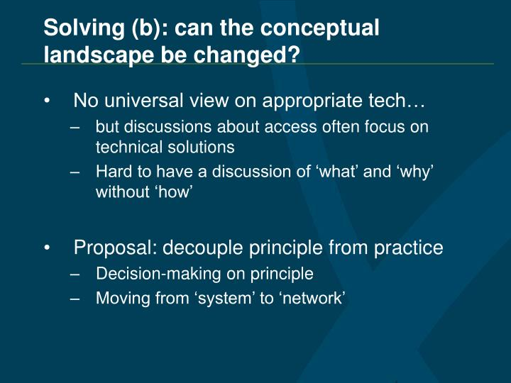 Solving (b): can the conceptual landscape be changed?