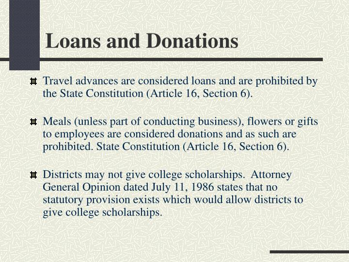 Loans and Donations