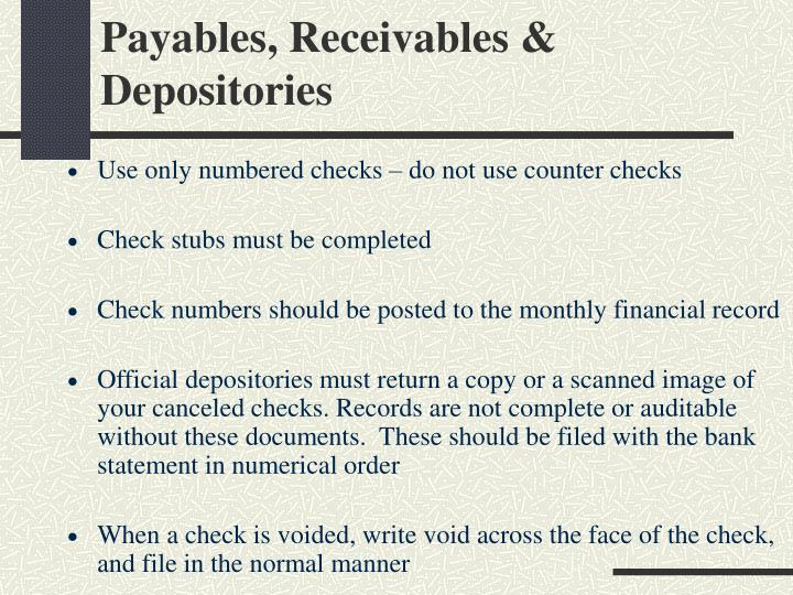 Payables receivables depositories