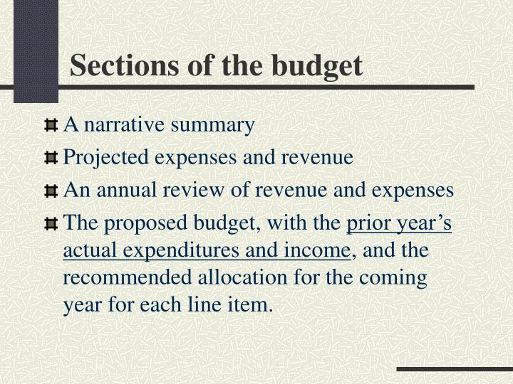 Sections of the budget