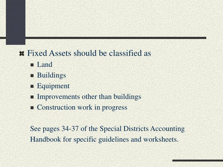 Fixed Assets should be classified as