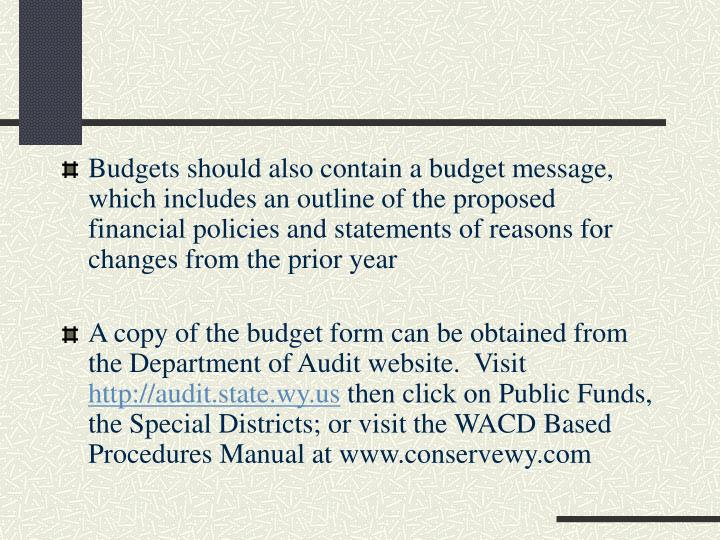 Budgets should also contain a budget message, which includes an outline of the proposed financial policies and statements of reasons for changes from the prior year