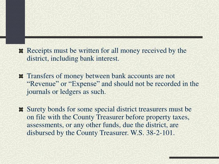 Receipts must be written for all money received by the district, including bank interest.