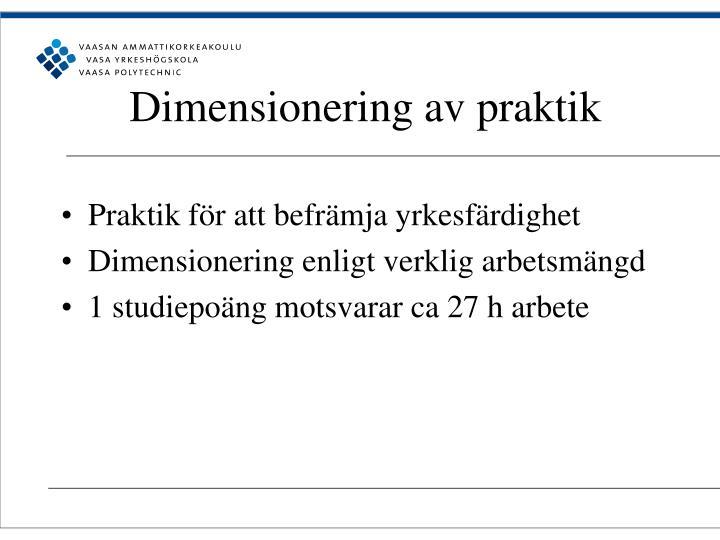 Dimensionering av praktik