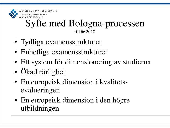 Syfte med Bologna-processen
