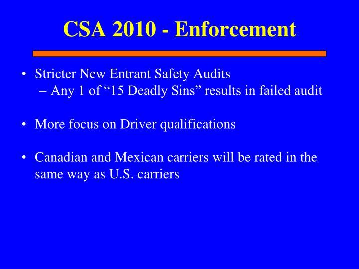 CSA 2010 - Enforcement
