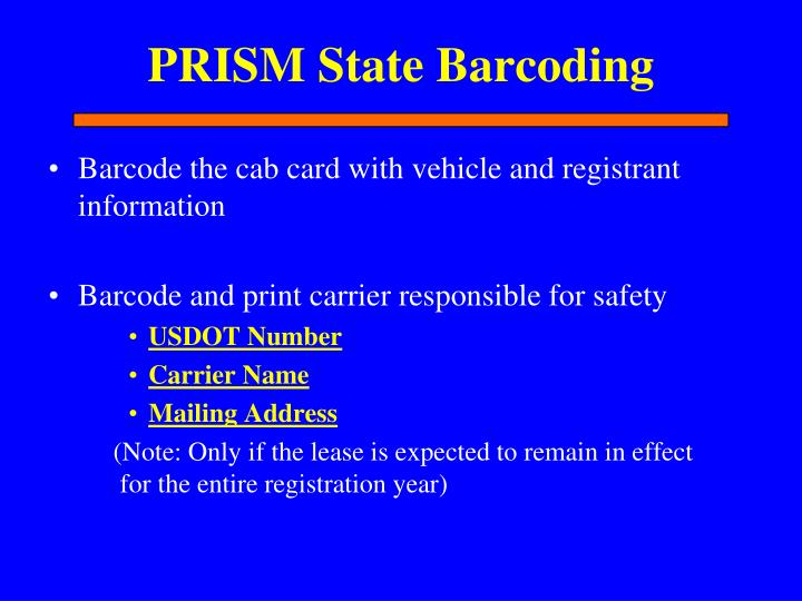 PRISM State Barcoding