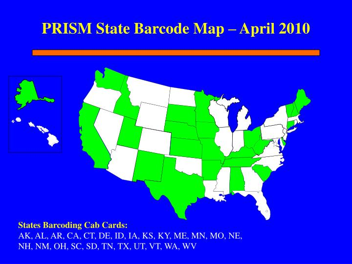 PRISM State Barcode Map – April 2010