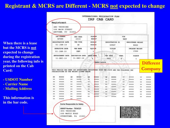 Registrant & MCRS are Different - MCRS