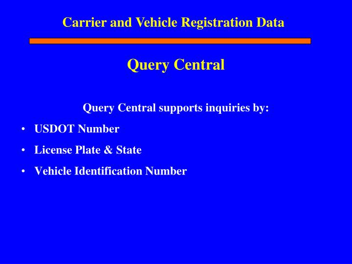 Carrier and Vehicle Registration Data