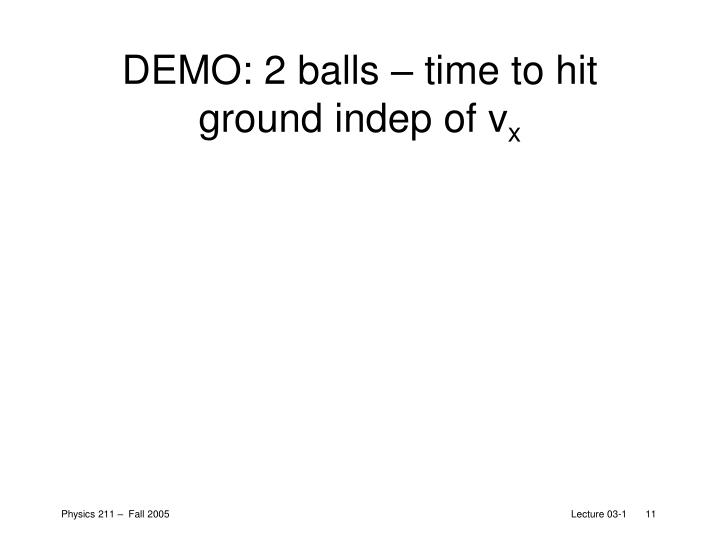 DEMO: 2 balls – time to hit ground indep of v