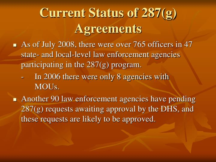 Current Status of 287(g) Agreements