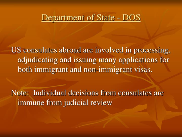 Department of State - DOS