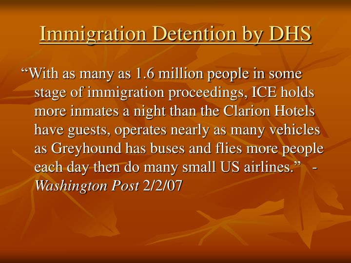 Immigration Detention by DHS