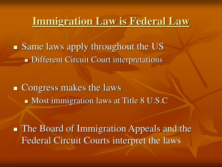Immigration Law is Federal Law