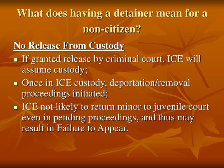 What does having a detainer mean for a non-citizen?