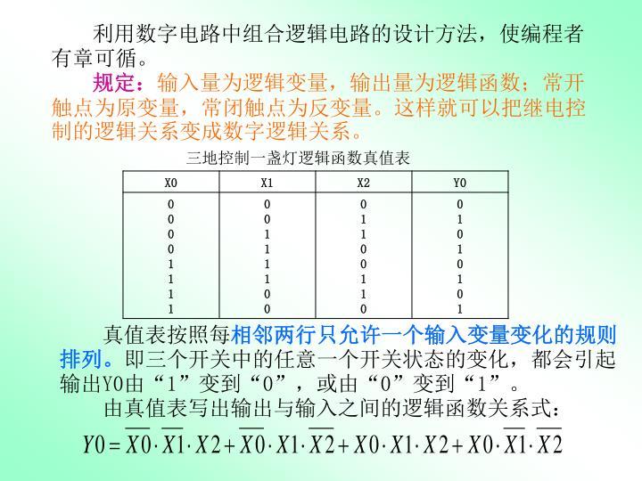 利用数字电路中组合逻辑电路的设计方法,使编程者有章可循。