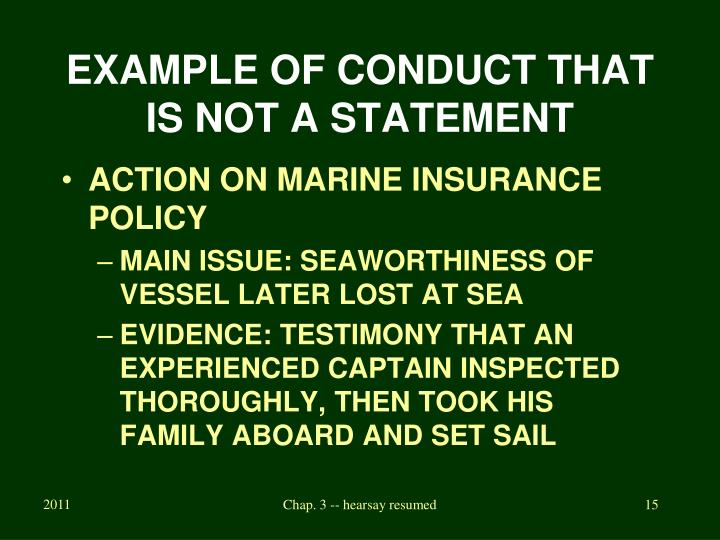 EXAMPLE OF CONDUCT THAT IS NOT A STATEMENT