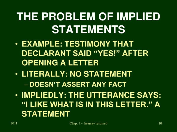 THE PROBLEM OF IMPLIED STATEMENTS