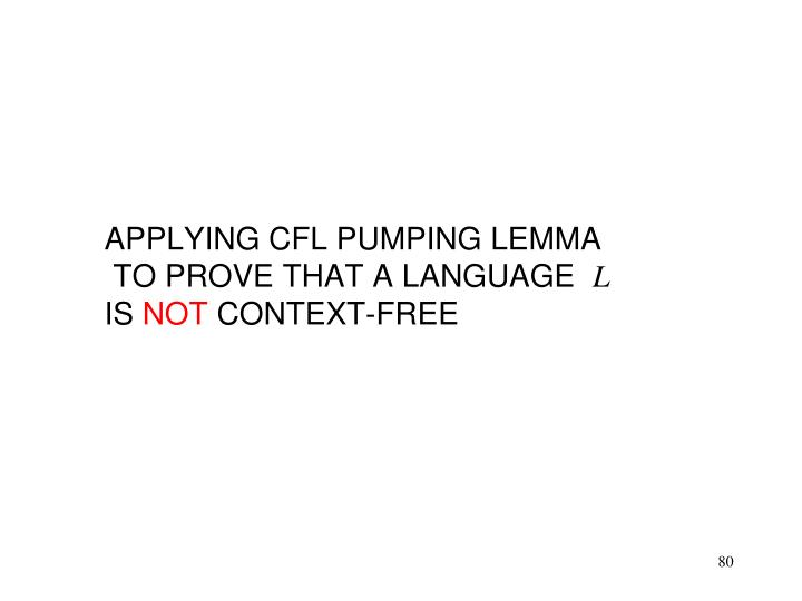 APPLYING CFL PUMPING LEMMA