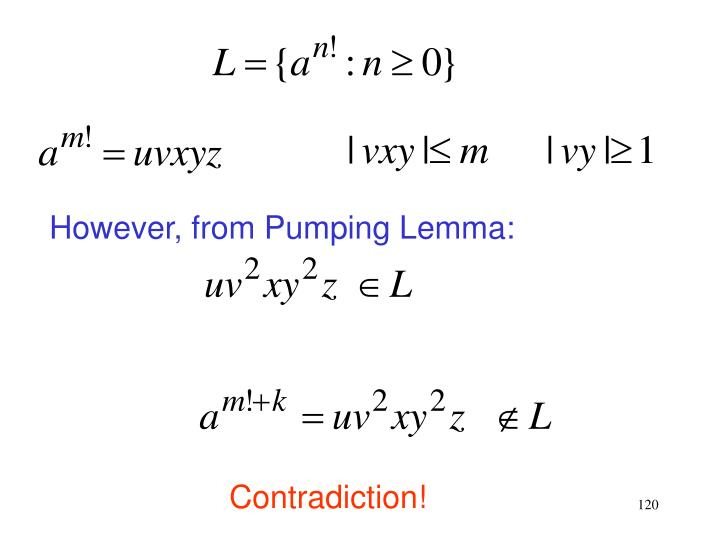 However, from Pumping Lemma: