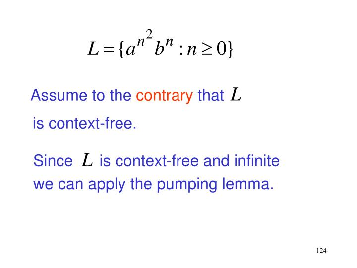 Since      is context-free and infinite