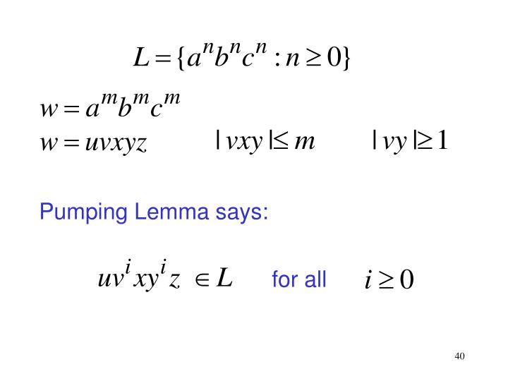 Pumping Lemma says: