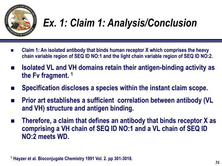 Ex. 1: Claim 1: Analysis/Conclusion