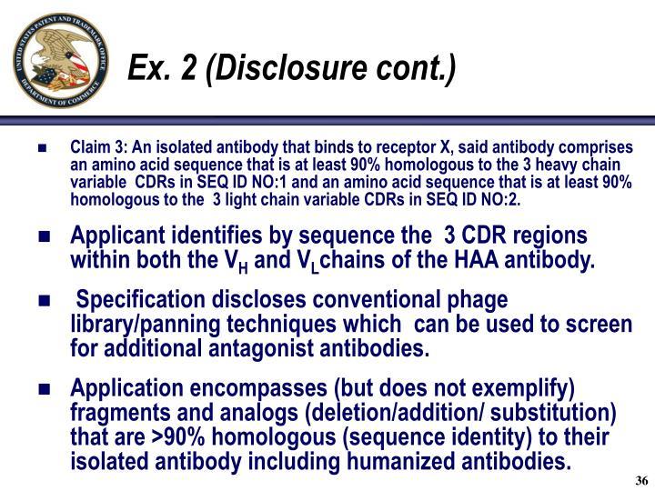 Ex. 2 (Disclosure cont.)