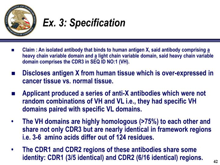 Ex. 3: Specification