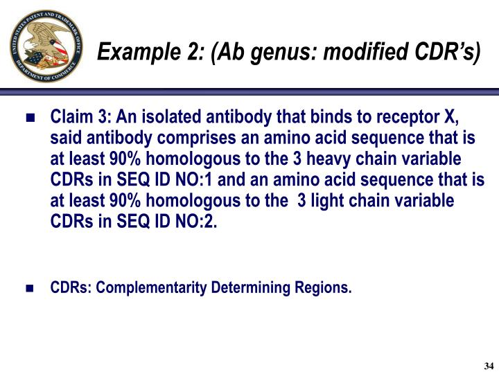 Example 2: (Ab genus: modified CDR's)