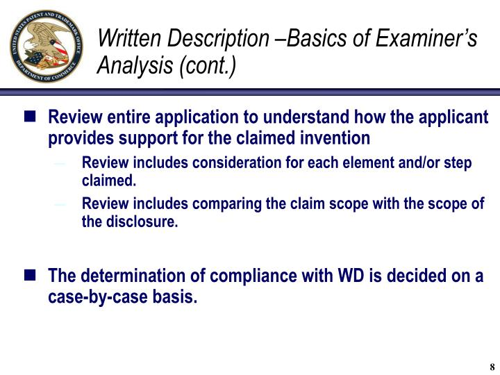 Written Description –Basics of Examiner's Analysis (cont.)