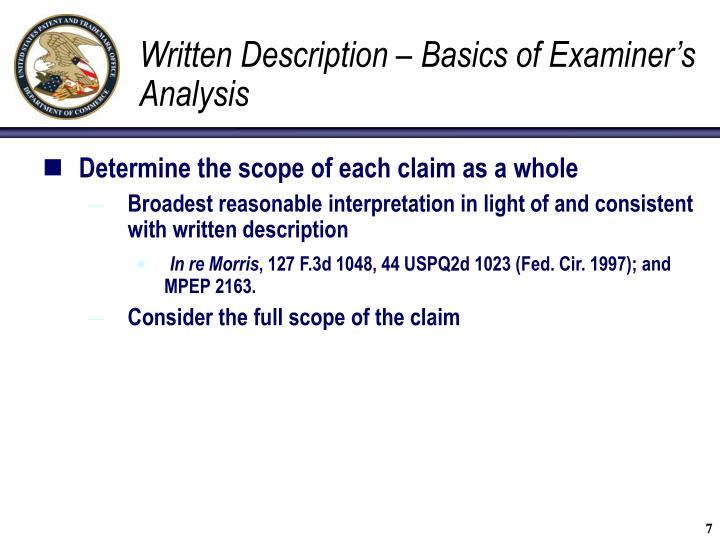 Written Description – Basics of Examiner's Analysis