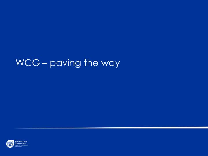 WCG – paving the way