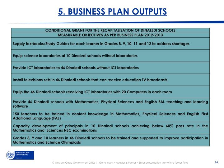 5. BUSINESS PLAN OUTPUTS