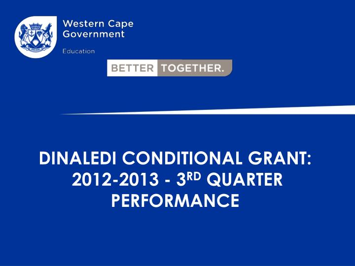 Dinaledi conditional grant 2012 2013 3 rd quarter performance