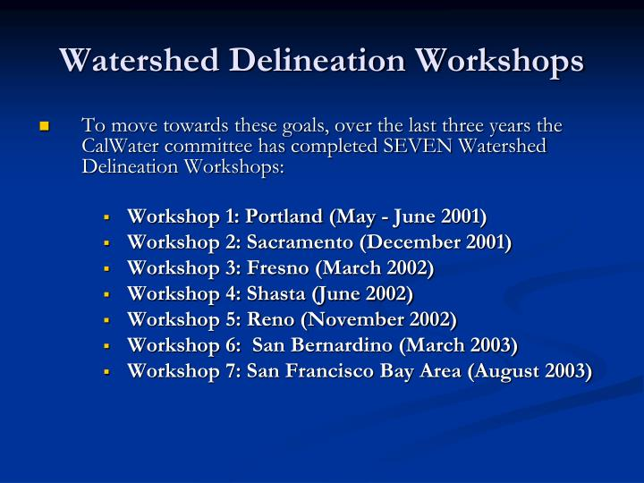 Workshop 1: Portland (May - June 2001)