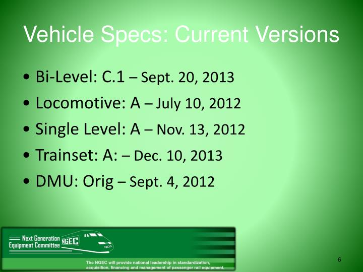 Vehicle Specs: Current Versions