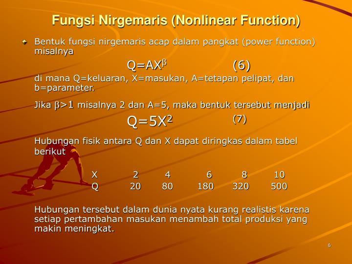 Fungsi Nirgemaris (Nonlinear Function)