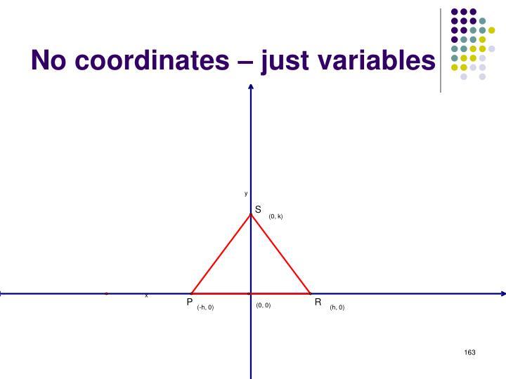 No coordinates – just variables